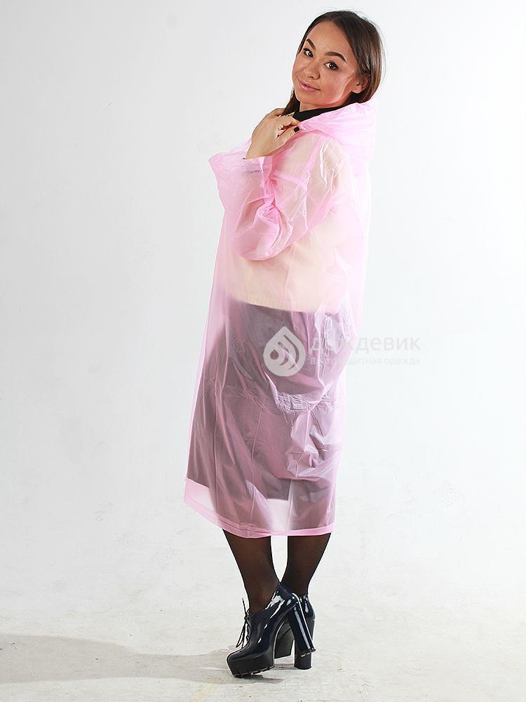 Плащ-дождевик виниловый летний розовый