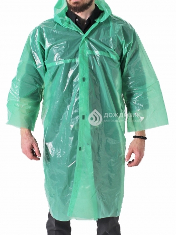Плащ-дождевик полиэтиленовый на липучках светло-зеленый