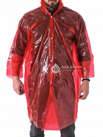 Плащ дождевик полиэтиленовый ПВД с капюшоном красный