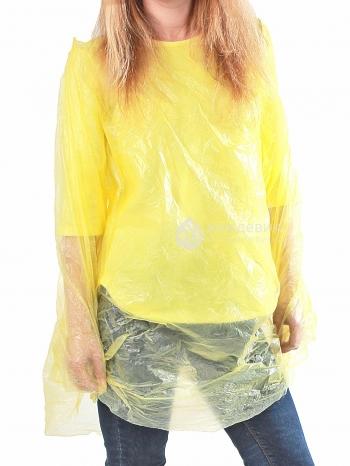 Плащ-дождевик пончо желтый оптом для мероприятий