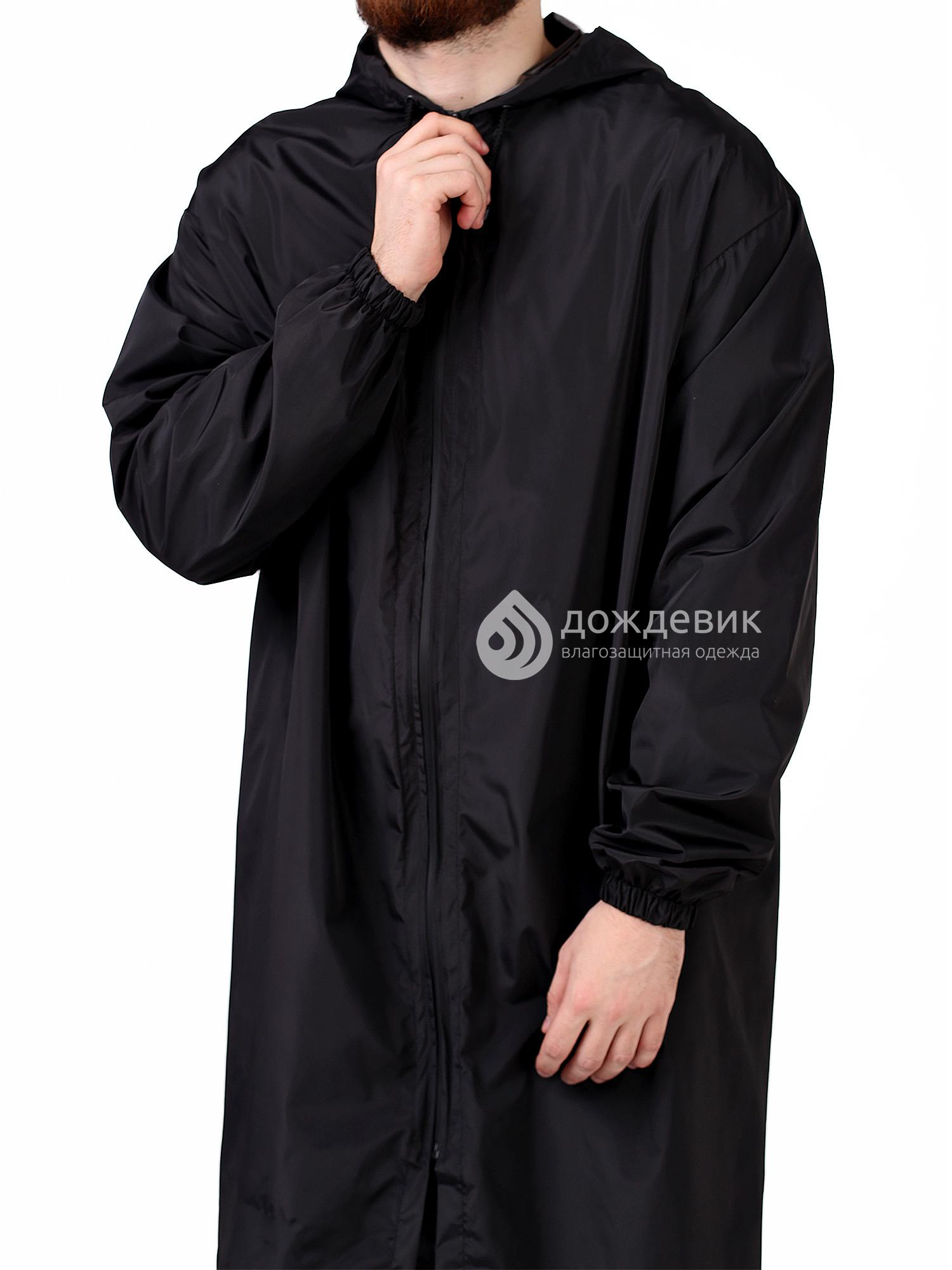 Плащ-дождевик из водонепроницаемой ткани черный