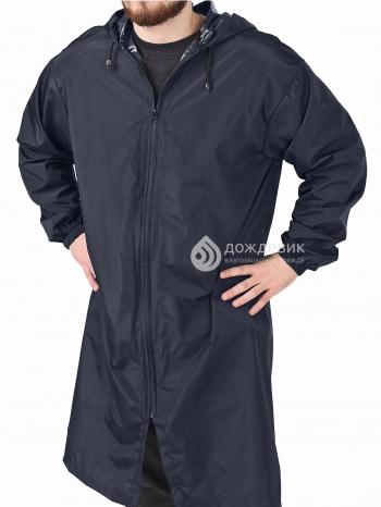 Плащ-дождевик из водонепроницаемой ткани темно-синий