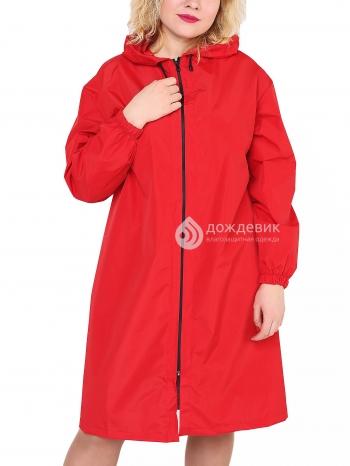 Плащ-дождевик из водонепроницаемой ткани красный