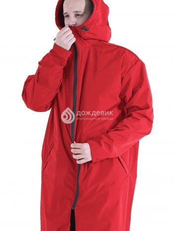 Плащ-дождевик из водонепроницаемой ткани с высоким воротом красный