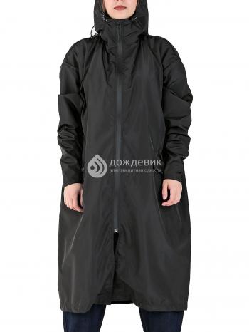 Плащ-дождевик из водонепроницаемой ткани с высоким воротом черный