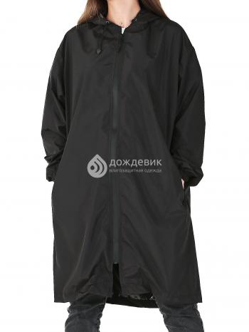 Плащ-дождевик из водонепроницаемой ткани с карманами черный