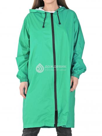 Плащ-дождевик «Ультра» модный непромокаемый на молнии зелёный